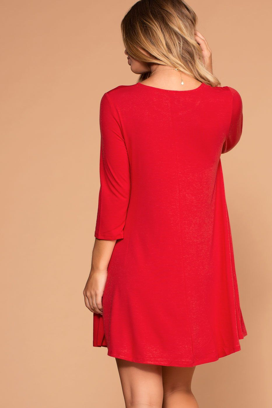 Ruby Red Swing Pocket Dress