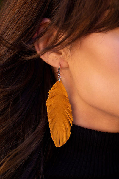 Caught In The Breeze Mustard Silver Leather Earrings