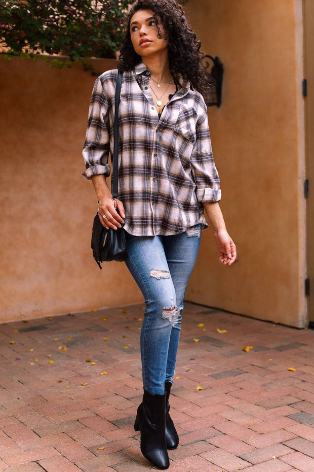 Cream Plaid Top