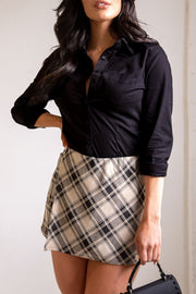 Taupe Plaid Skort