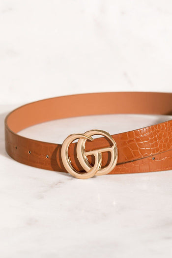 Center Of Attention Tan Crocodile Belt