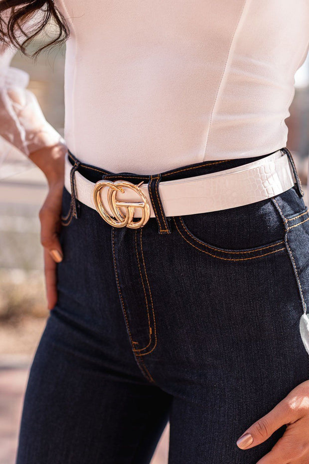 White Crocodile Belt