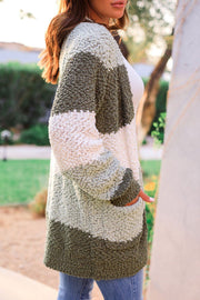 Green Bubble Knit Cardigan