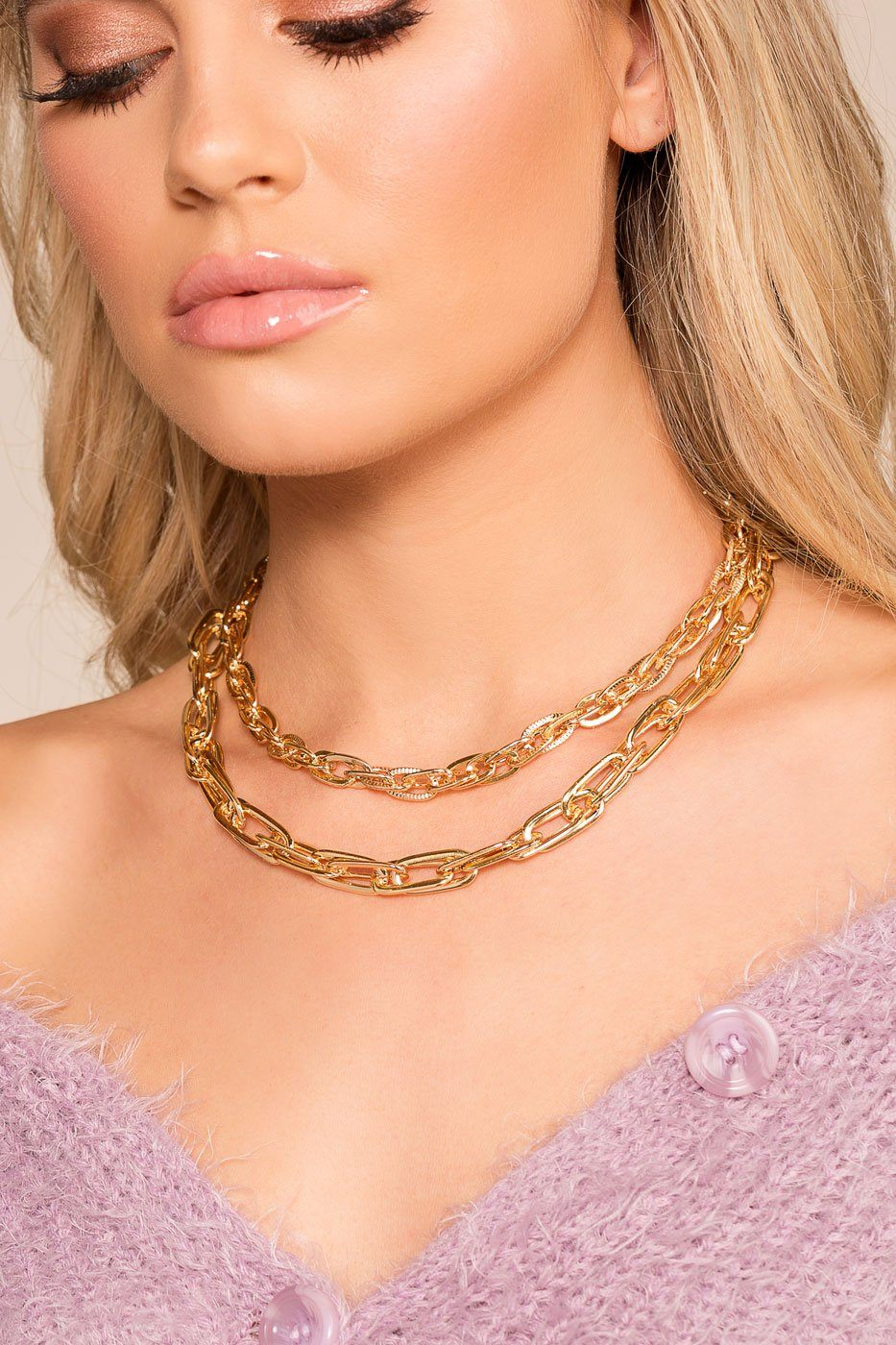 c773aa0408d Chain Reaction Gold Layered Necklace