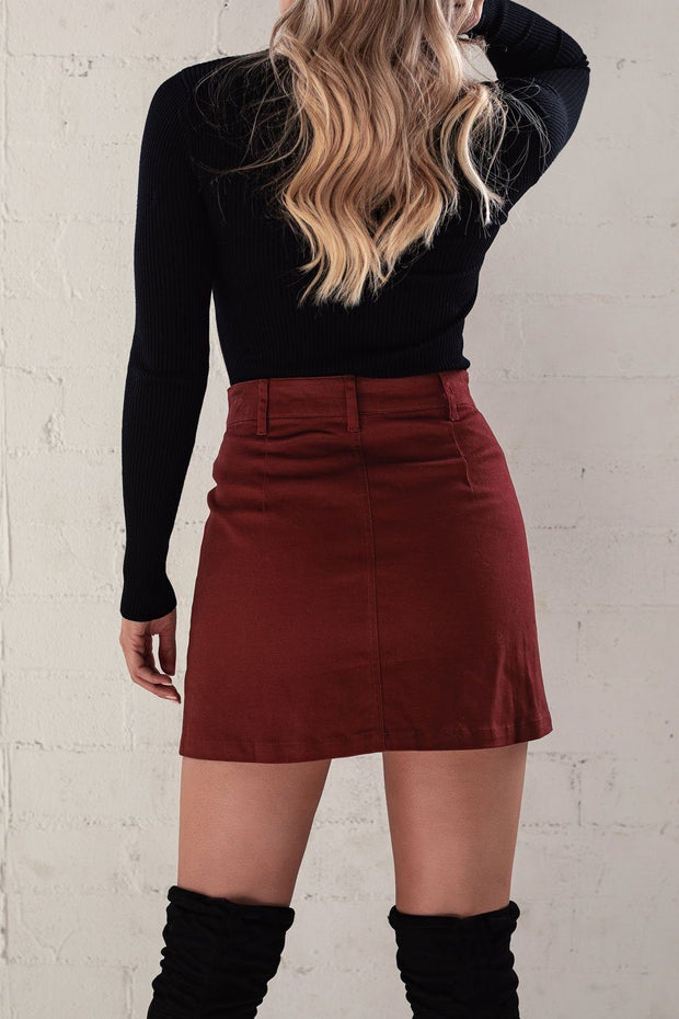 Burgundy Button Up Skirt