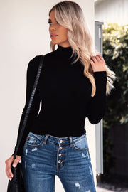 Signature Black Ribbed Turtleneck