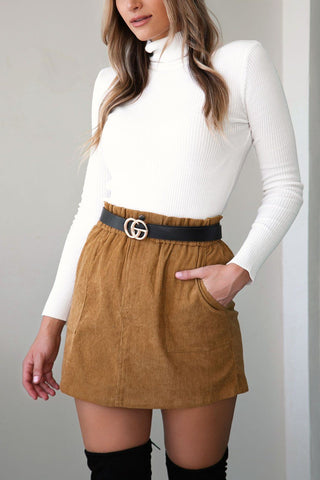 Berkley Tan Corduroy Mini Skirt
