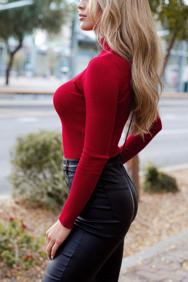 Signature Deep Red Ribbed Turtleneck