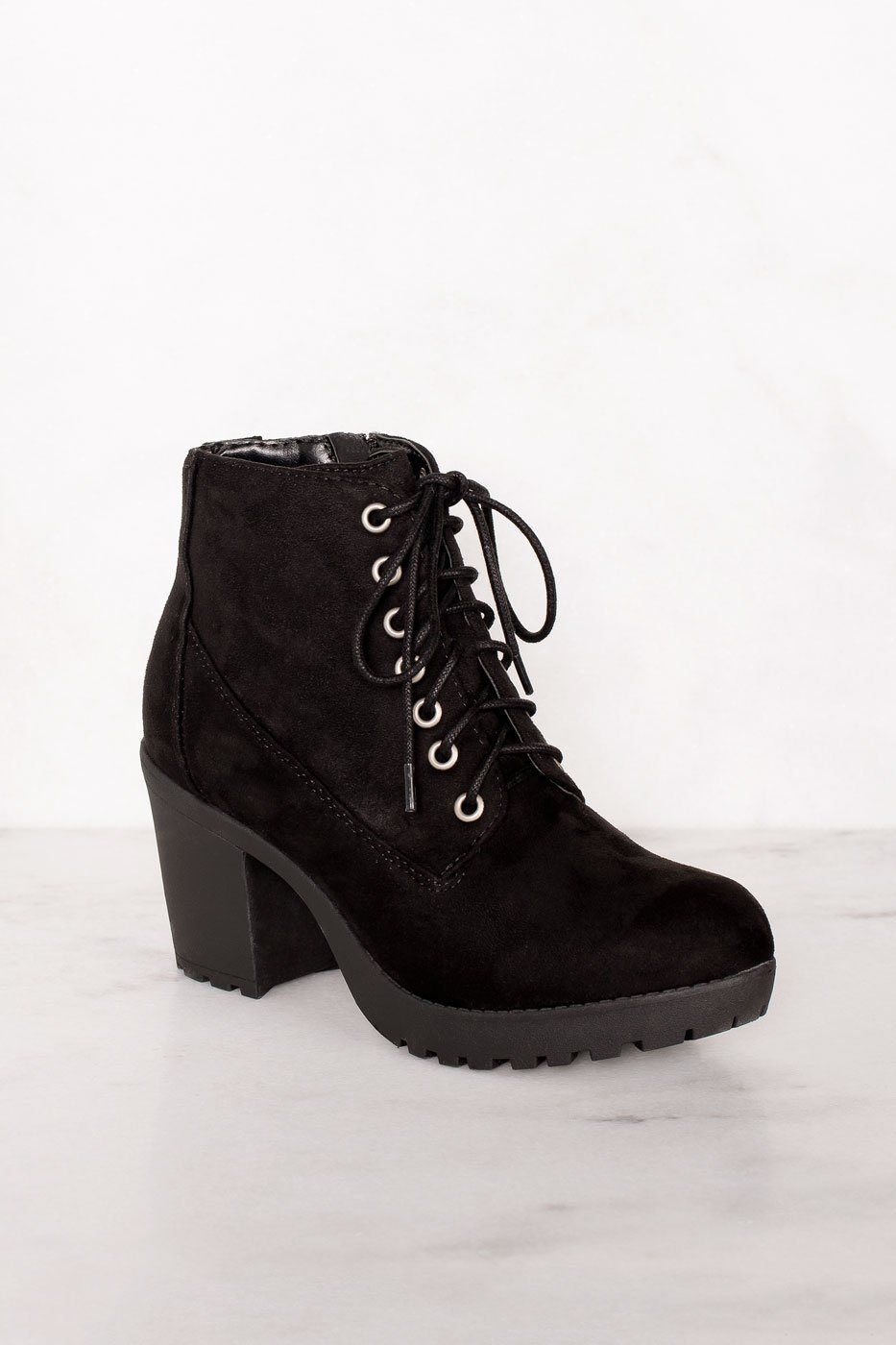 Charlize Black Suede Lace Up Booties by