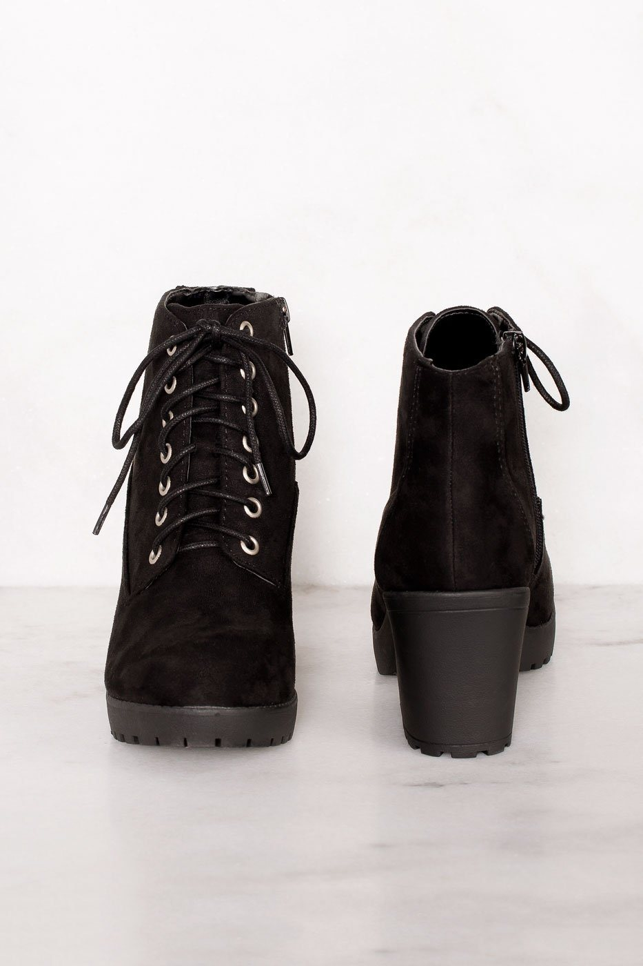 Charlize Black Suede Lace Up Booties | Shop Priceless