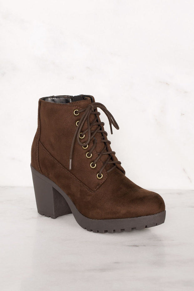 Charlize Chocolate Lace Up Booties | Shop Priceless