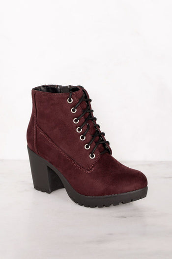 Charlize Burgundy Lace Up Booties | Shop Priceless