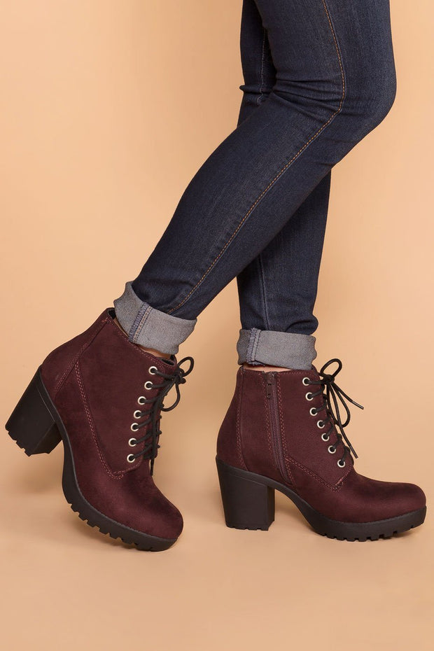 Charlize Burgundy Lace Up Booties by