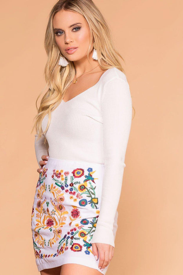 White V-Neck Top Long Sleeve