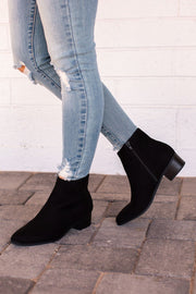 Black Low Block Heel Booties