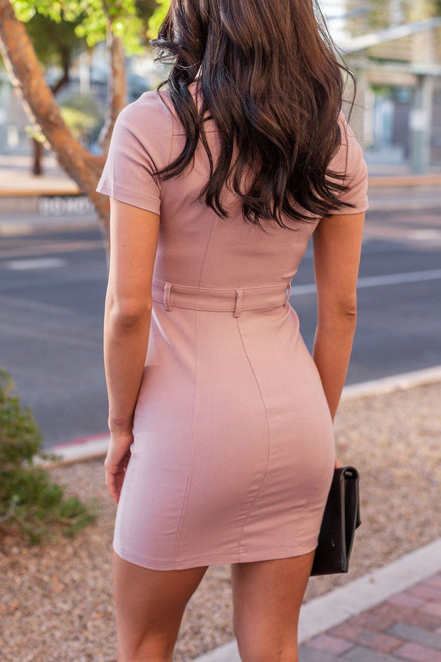 Mauve Button Up Dress