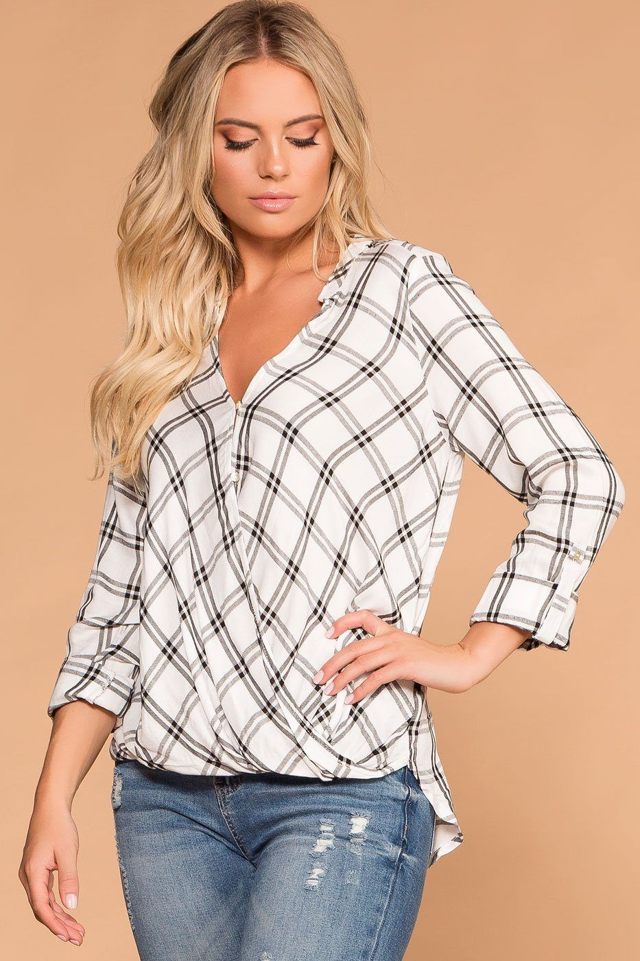 White and Black | Plaid Button Top