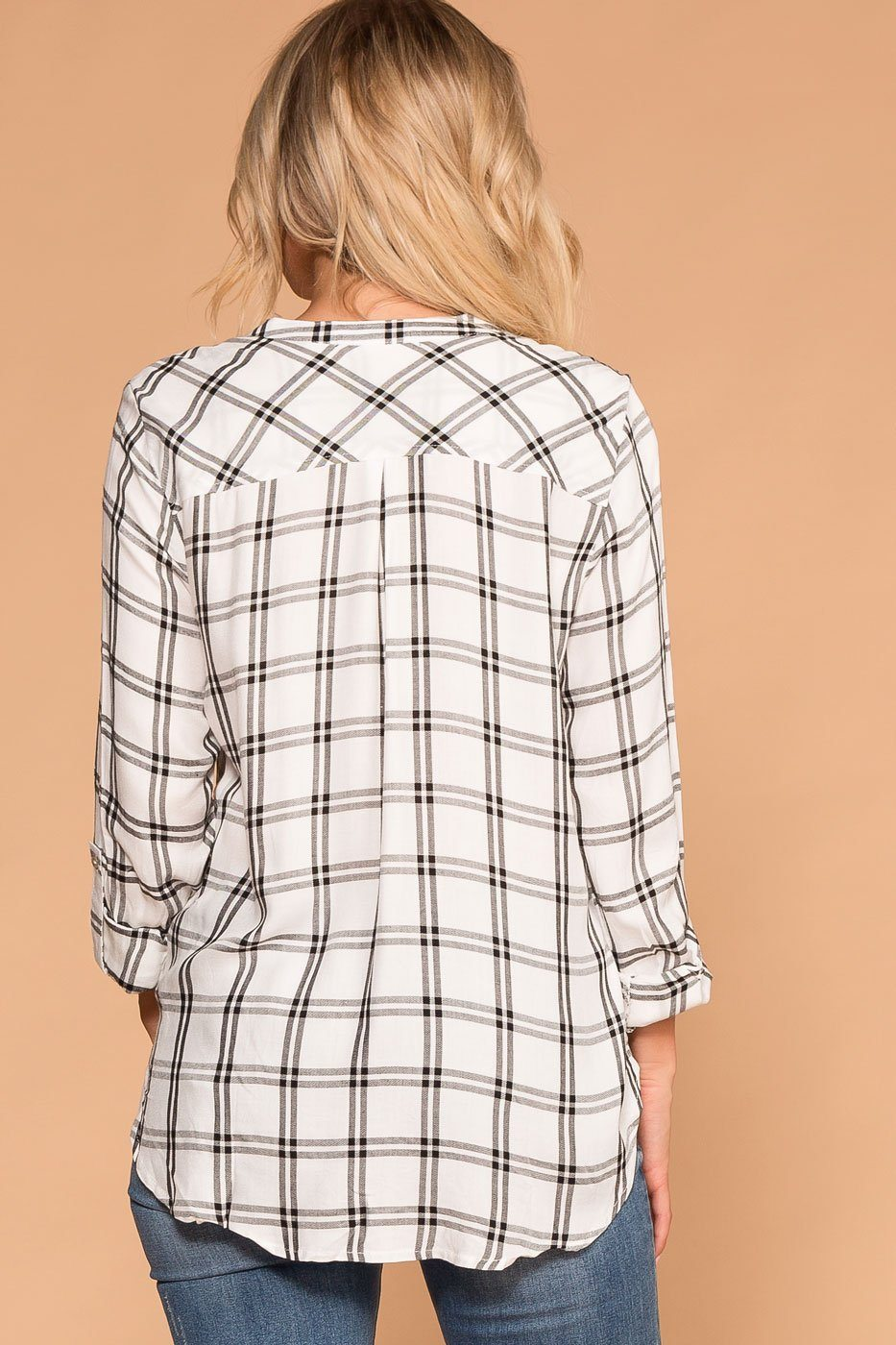 White and Black Plaid Button Top