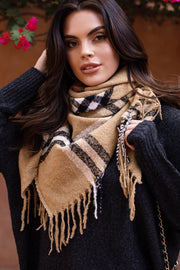 Tan Plaid Fringed Blanket Scarf
