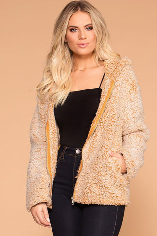 Bailey Fur Coat - Apricot