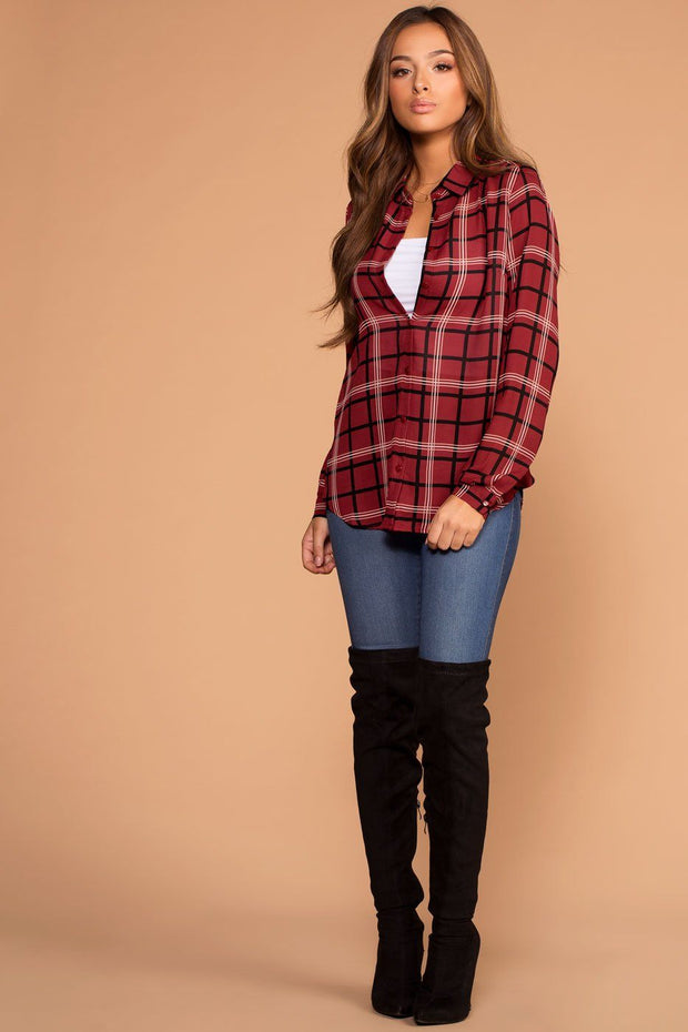 Burgundy Button Up Plaid Top