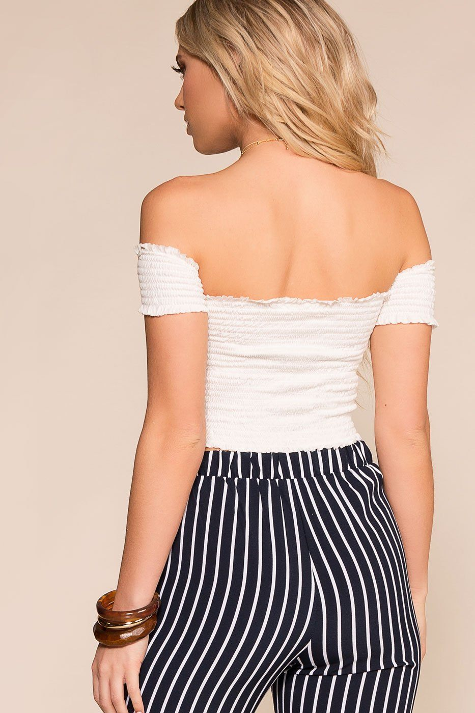 White Off-the-Shoulder Crop Top