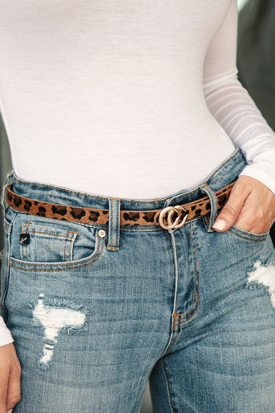 Thin Leopard Print Belt with Gold Medallion Clasp