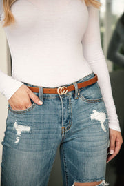 Thin Tan Belt with Gold Medallion Clasp