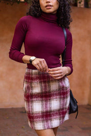 City Nights Red Plaid Skirt
