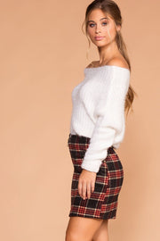 Burgundy and Grey Plaid Skirt