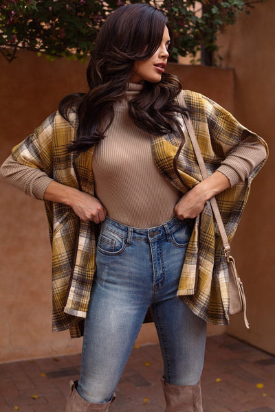 Clea Yellow Plaid Short Sleeve Jacket