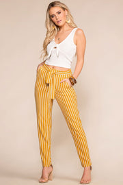 Mustard Striped High Waisted Tie Pants