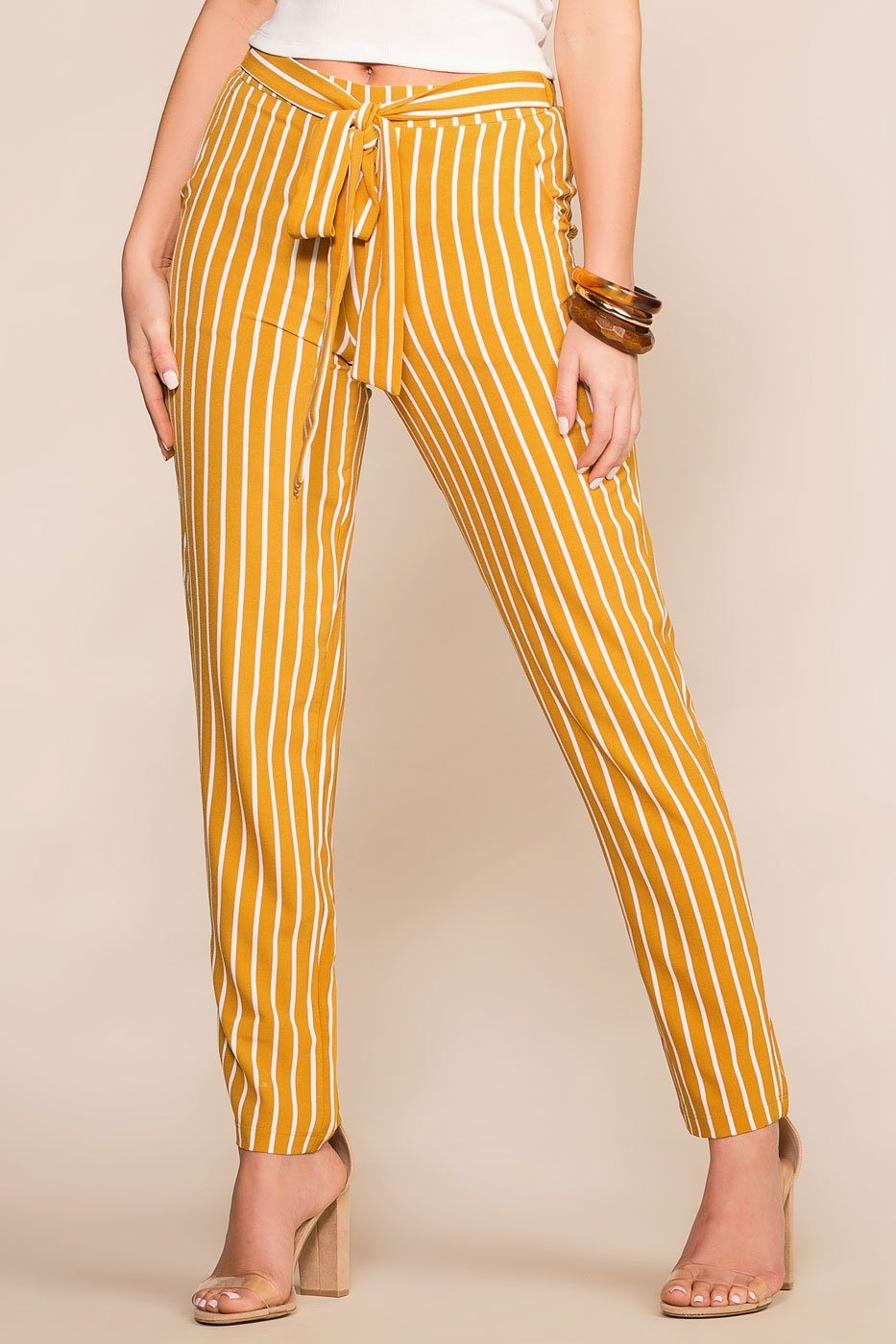 Priceless | Mustard | Striped | High Waisted | Tie Pants | Womens