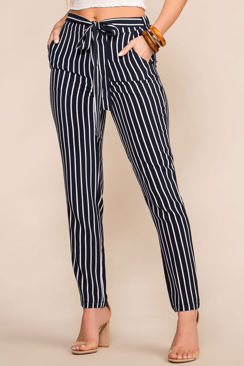 Priceless | Navy | Striped | High Waisted | Tie Pants | Womens