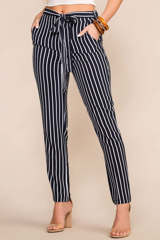Navy Striped High Waisted Pants