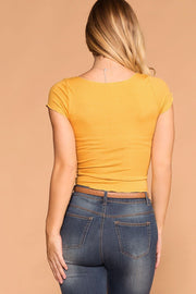 Mustard Button Crop Top