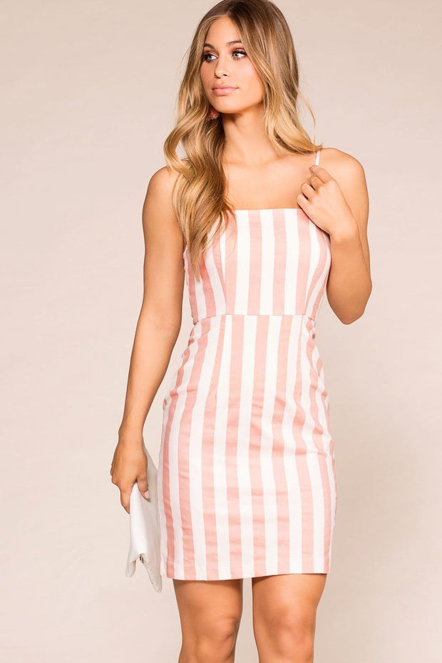 Mauve Striped Mini Dress