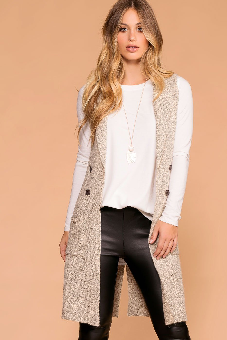 Long Button Sweater Knit Vest