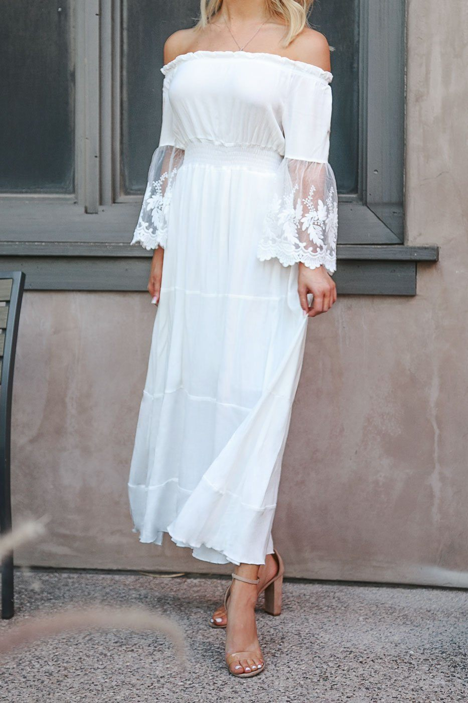 White Off The Shoulder Maxi Dress with Lace Sleeves