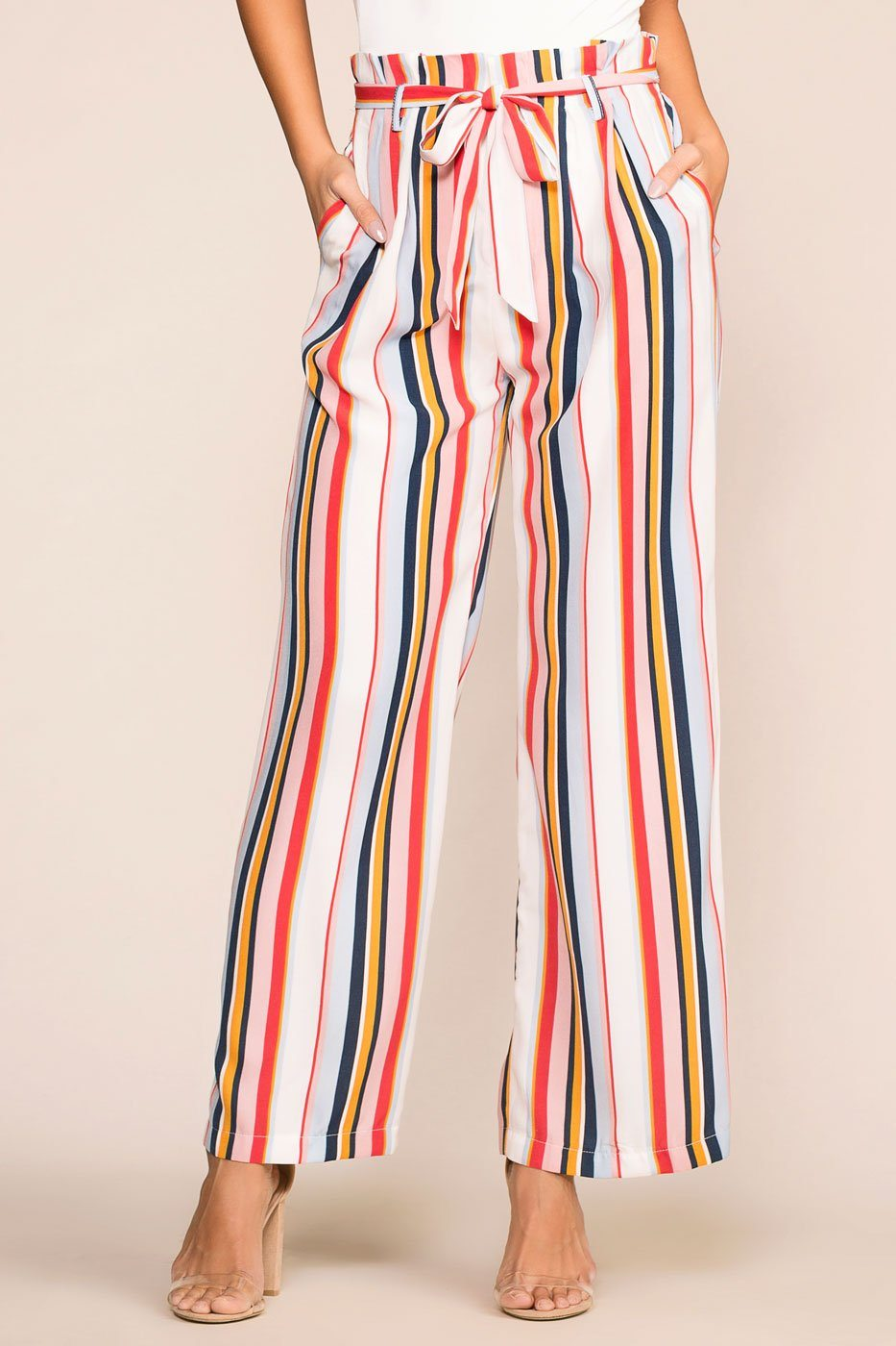 Priceless | Paperbag Pants | Striped | Womens