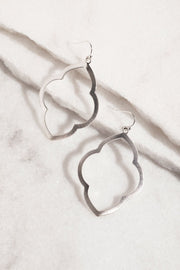 Silver Hoop Drop Earrings