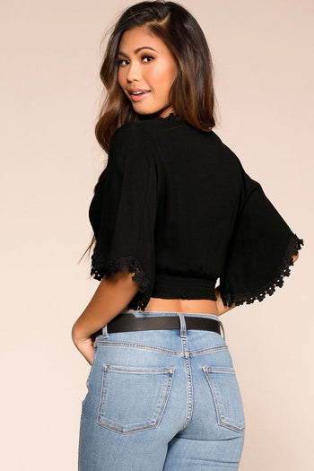 Priceless | Black | Bell Sleeve Crop Top | Womens