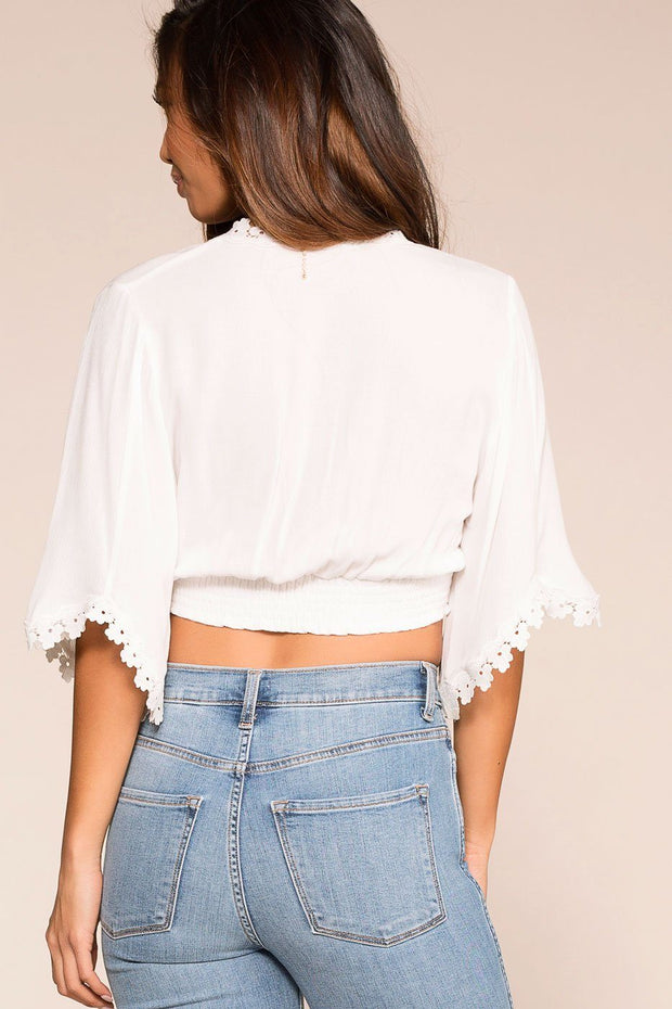 White Bell Sleeve Crop Top