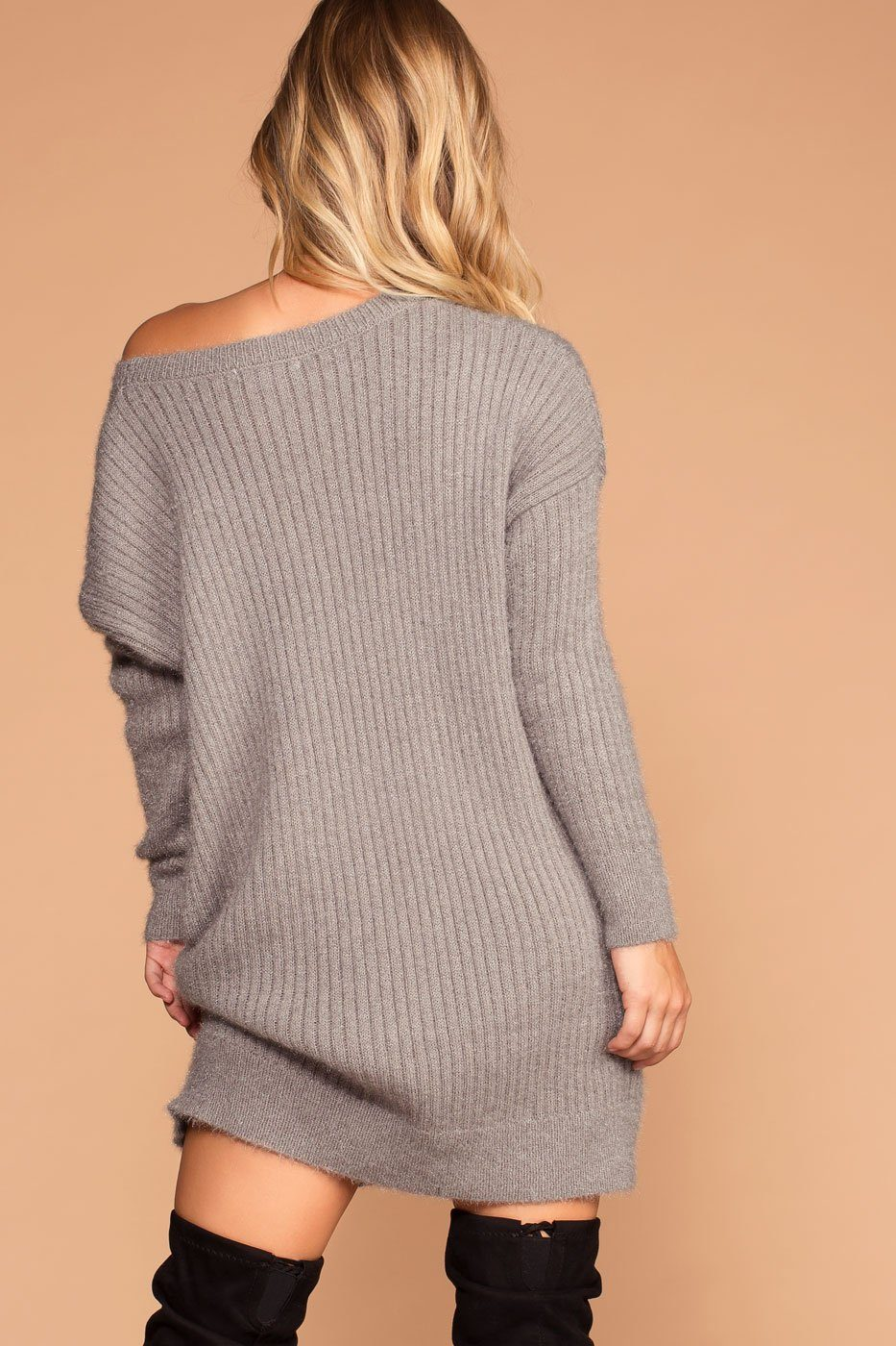 Cold Outside Grey Knit Sweater Dress