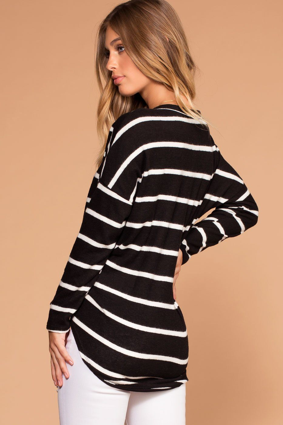 Black And White Stripe Brushed Knit Tie-Front Sweater