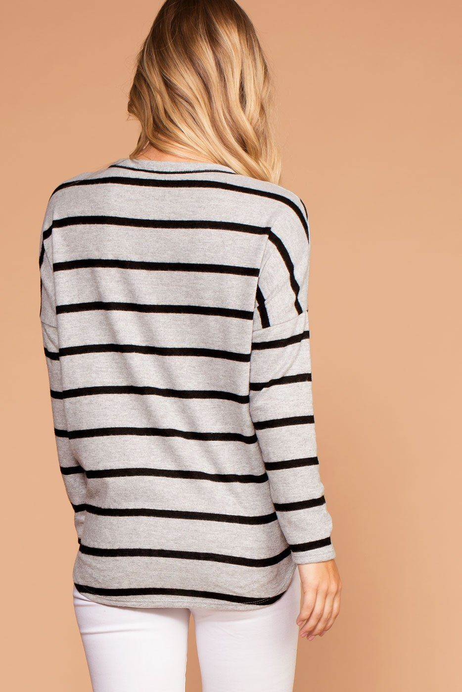 Grey and Black Stripe Brushed Knit Tie-Front Sweater