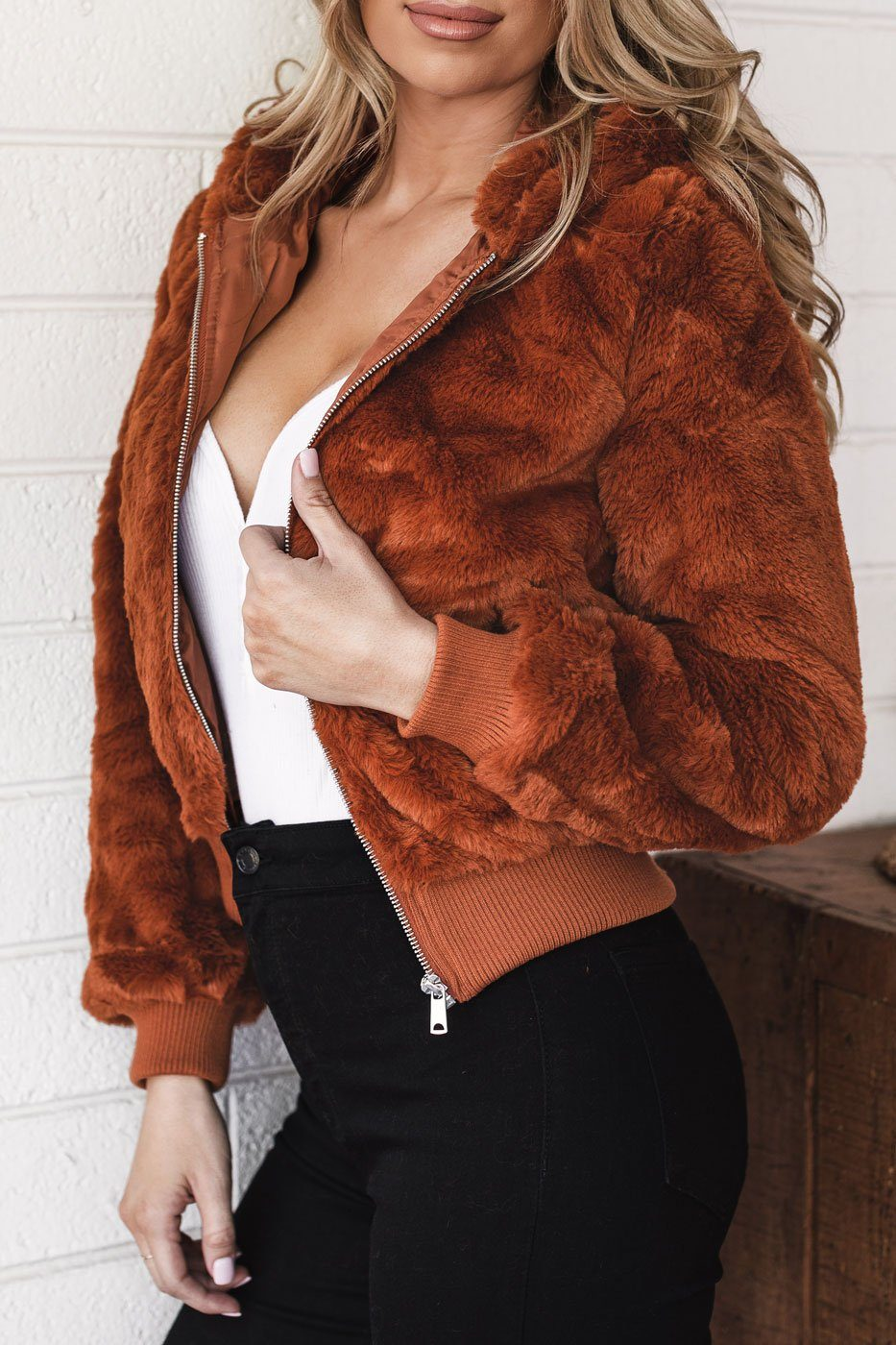 Rust Faux Fur Bomber Rust