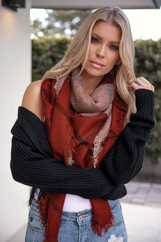 Georgette Black Plaid Blanket Scarf