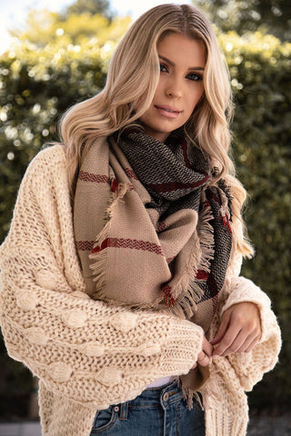 Connie Black Plaid Blanket Scarf