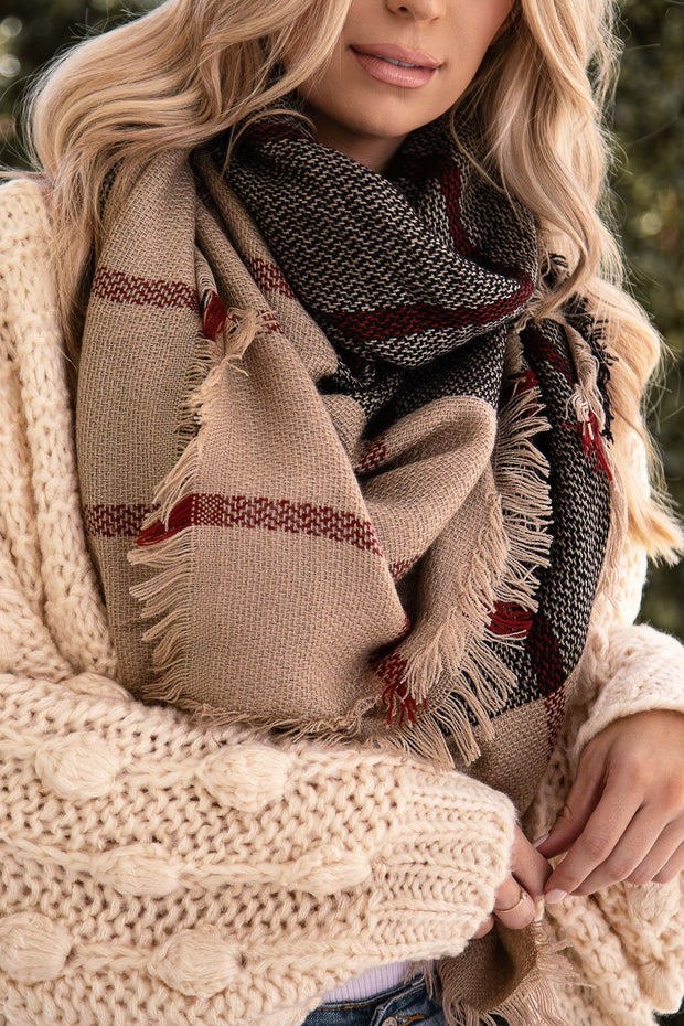 Connie Taupe Plaid Blanket Scarf